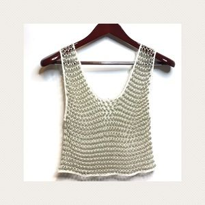 Tops - Beaded Mesh Crop Tank Top S